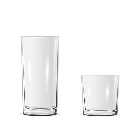 Two glasses isolated on white background, illustration.