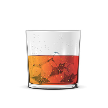 bourbon whisky: Glass of whiskey with ice cube isolated on white background, illustration.