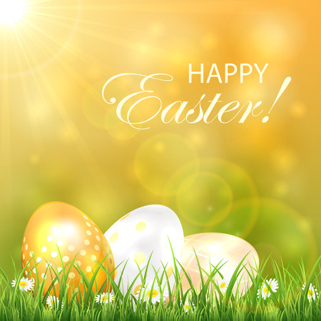 golden eggs: Easter background with Sun and golden eggs in the grass, illustration.