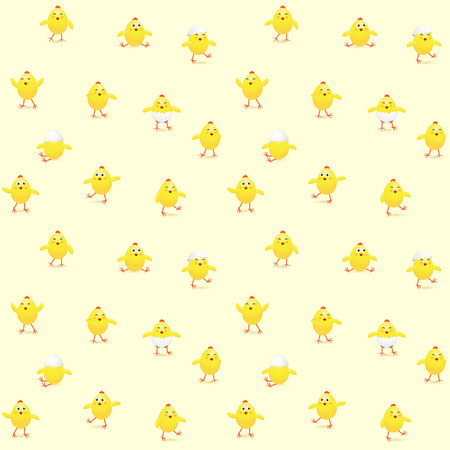 funny easter: Easter seamless background with funny chicks, illustration.