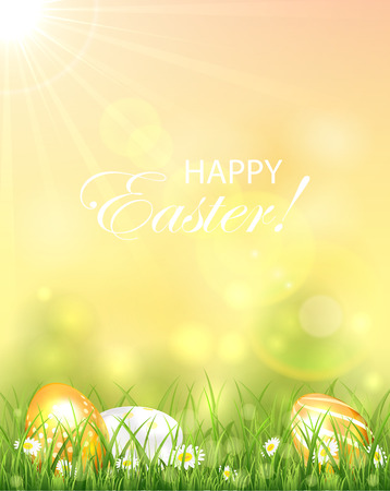 Easter background with bright Sun and colorful eggs in the grass, illustration. Vector
