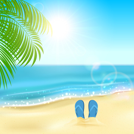flops: Tropical background with flip flops on the sandy beach, Sun, sparkling ocean and palms, illustration.