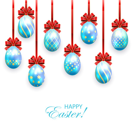 Set of blue Easter eggs with decorative patterns and bow isolated on white background, illustration. Illustration