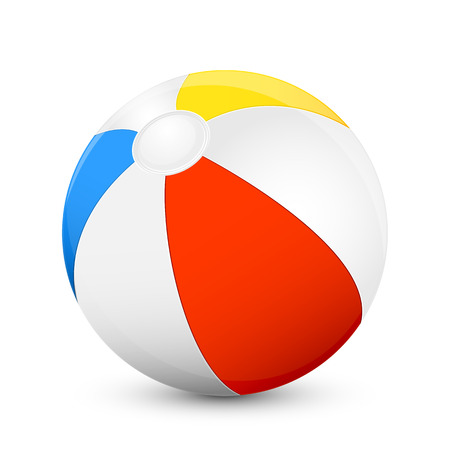 to play ball: Colorful beach ball isolated on white background, illustration. Illustration