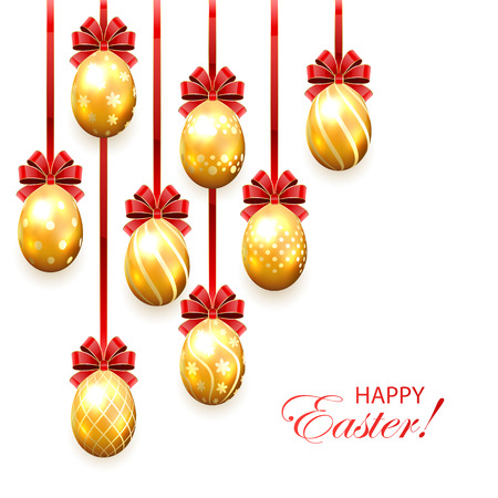Set of golden Easter eggs with decorative patterns and red bow isolated on white background, illustration. Vector