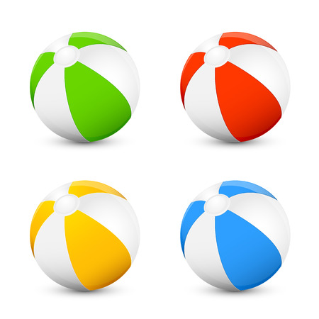 Set of colorful beach balls isolated on white background, illustration. 일러스트