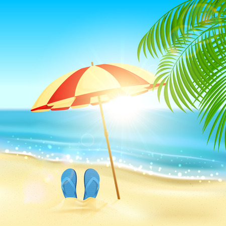 flops: Tropical background with flip flops and umbrella on the sandy beach, Sun, sparkling ocean and palms, illustration. Illustration