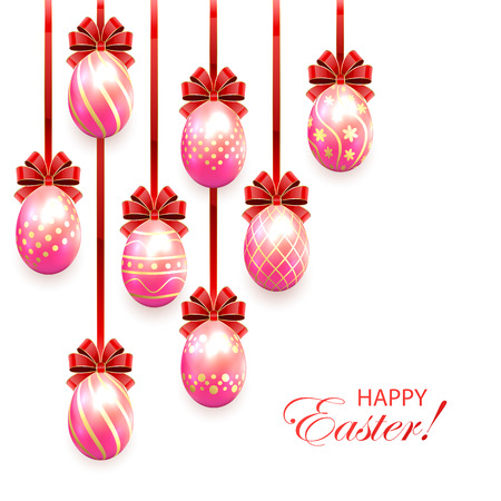 Set of pink Easter eggs with decorative patterns and red bow isolated on white background, illustration. Vector