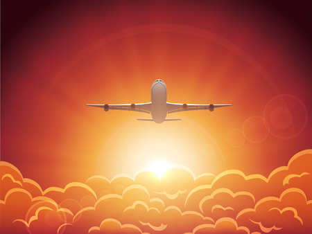Plane flying in the sky above the clouds, illustration. Vector