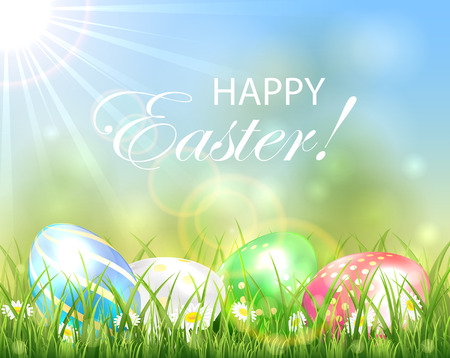 sun illustration: Easter background with multicolored eggs in the grass and bright Sun, illustration. Illustration