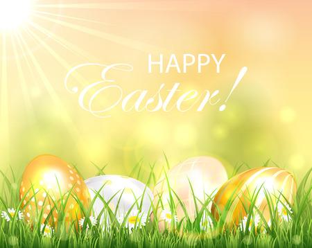 uova d oro: Sfondo di Pasqua con le uova d'oro in erba e sole, illustrazione. Vettoriali
