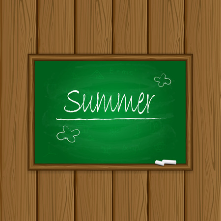coming soon: Words Summer written on a green chalkboard with chalk on wooden background, illustration.