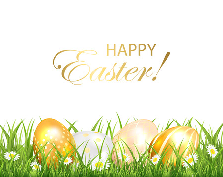 golden eggs: Easter background with golden eggs in the green grass on white background, illustration. Illustration