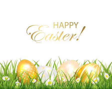 uova d oro: Sfondo di Pasqua con le uova d'oro in erba verde su sfondo bianco, illustrazione. Vettoriali