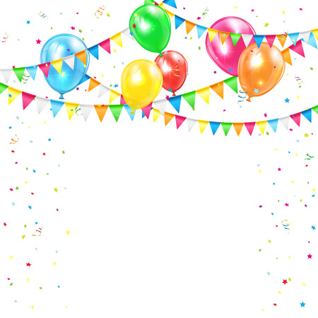 holiday with colored balloons, confetti and pennants, illustration.