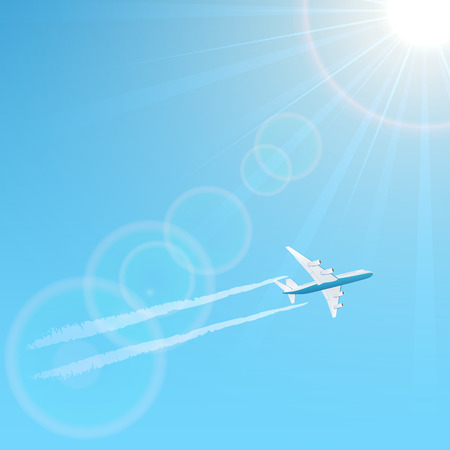 vapor: Plane and vapor trail on blue sky background, illustration.