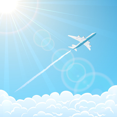 aircraft aeroplane: White plane on blue sky background flies over clouds, illustration.