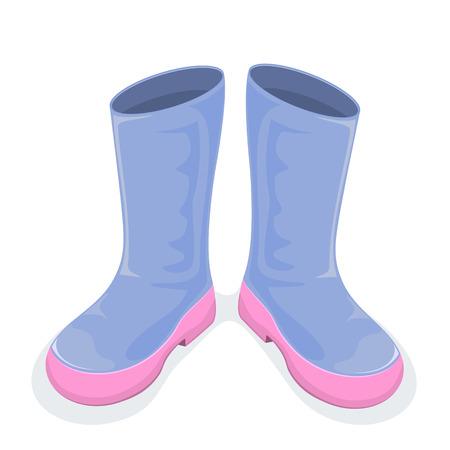 botas de lluvia: Botas azules aislados sobre fondo blanco, ilustración.