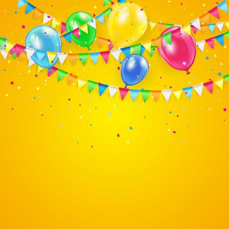 Oranje Vakantie achtergrond met kleurrijke ballonnen, wimpels en confetti, illustratie. Stock Illustratie