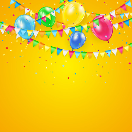 Orange Holiday background with colorful balloons, pennants and confetti, illustration.