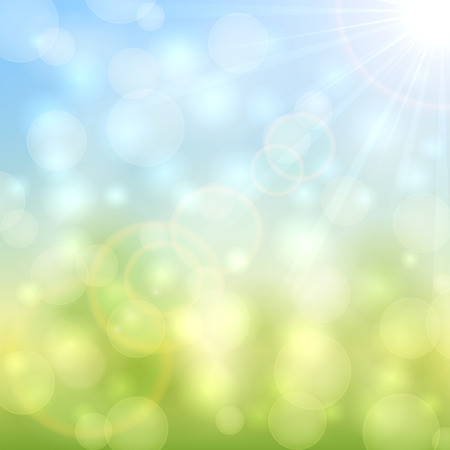 Abstract natural background with bokeh light and sun beams, illustration.
