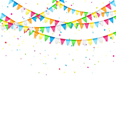 Vacaciones de fondo con banderines y confeti de colores, ilustración.