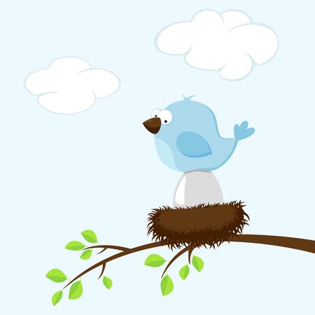 nido de pajaros: Pájaro azul en el nido, incuba el huevo, la ilustración.