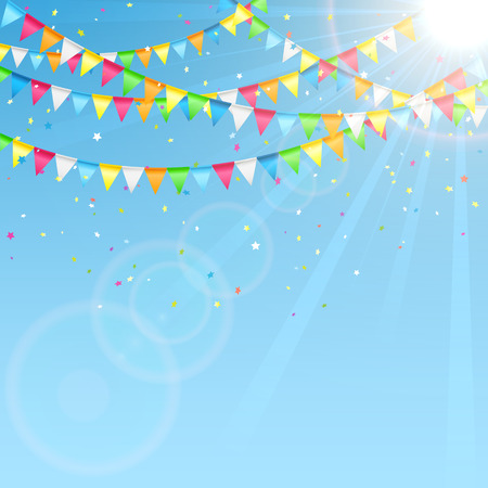 Holiday pennants and confetti on sky background, illustration.