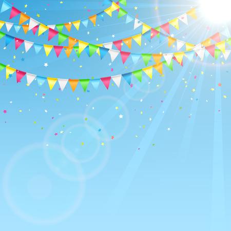 Vakantie wimpels en confetti op de hemel achtergrond, illustratie.