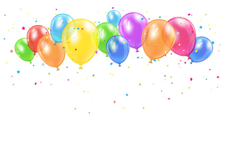 inflating: Holiday balloons and confetti flying on white background, illustration. Illustration