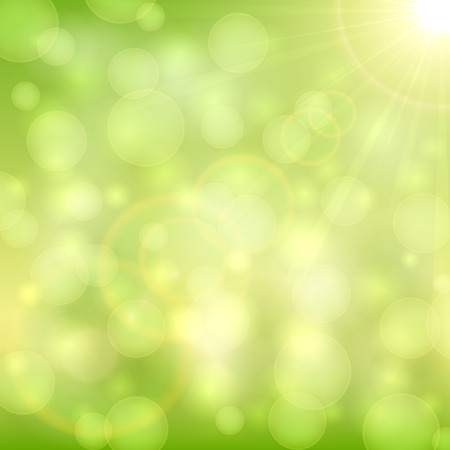 holiday light: Green abstract background with bokeh light and sun beams, illustration.