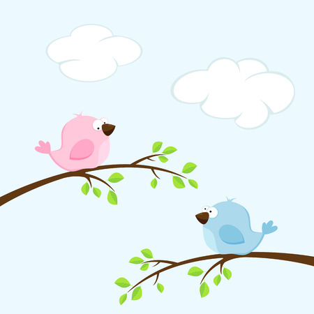 two birds: Background with two birds on the branches, illustration.