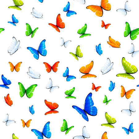 Seamless background with multicolored butterflies, illustration. Vector