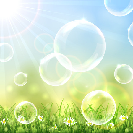 sunny: Flying bubbles above the grass on blue sunny background, illustration.