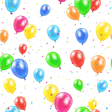 ballons: Seamless background with colorful balloons and confetti illustration.