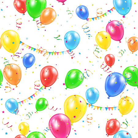 seamless with colorful balloons, pennants and confetti, illustration.