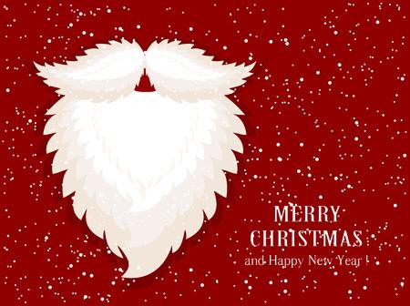 red beard: Christmas decoration with Santa beard on snow background, illustration.