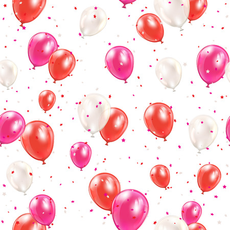 seamless with red balloons and confetti on white , illustration. Illustration