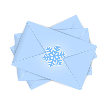 christmas mail: Set of blue Christmas envelopes with snowflake, illustration. Illustration