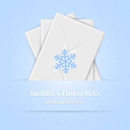 grungy email: Blue Christmas background with envelopes and snowflake, illustration. Illustration