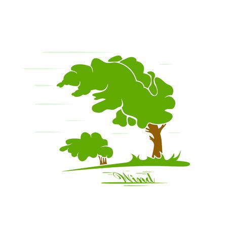 viento: Silueta de �rbol verde que sopla en el viento, ilustraci�n.