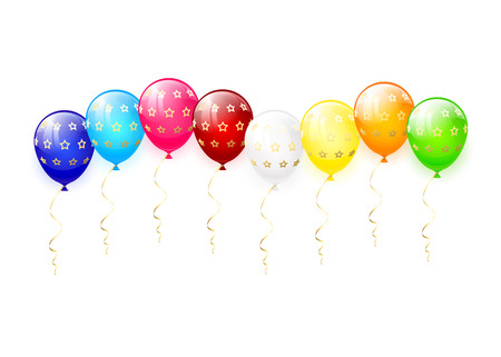ballons: Multicolored balloons with golden stars isolated on a white background, illustration.