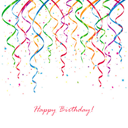 Birthday background with confetti and curling streamers, illustration.
