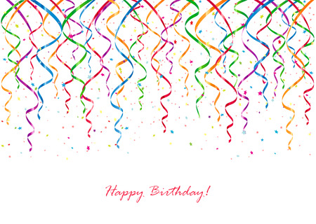 Birthday background with curling streamers and confetti, illustration. Ilustração