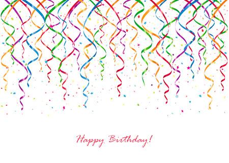serpentinas: Fondo del cumpleaños con serpentinas y confeti de curling, ilustración. Vectores