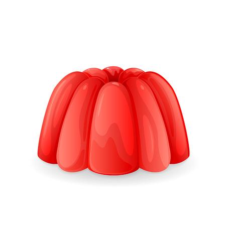 gelatina: Pud�n de gelatina de rojo aislado en un fondo blanco, ilustraci�n.