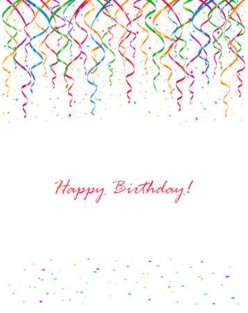 serpentinas: Fondo con serpentinas de cumpleaños y confeti, ilustración.