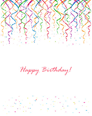 Background with Birthday streamers and confetti, illustration.