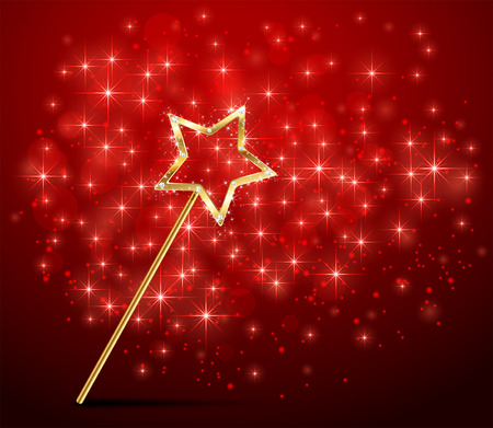 miracles: Golden magic wand on red sparkle background, illustration. Illustration