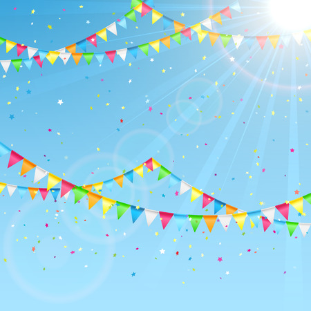flag: Pennants and colorful confetti on a sky background, illustration.